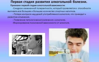 Первая стадия алкоголизма – развитие зависимости, при котором опасно медлить с лечением