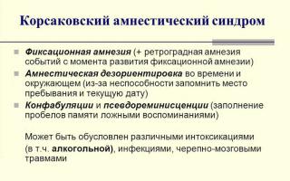 Корсаковский синдром при алкоголизме или метаморфозы памяти алкоголика